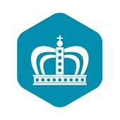 Monarchy Crown Icon. Simple Illustration Of Monarchy Crown Vector Icon For Web poster