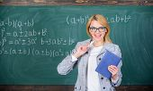 Teaching Complex Multifaceted Activity. Teacher Smart Woman With Book Explain Topic Near Chalkboard. poster