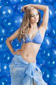 Swimsuit And Balloons In Blue, Her Left  Arm Is On The Head