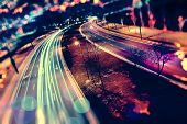 Abstract Background Of City And Highway. Traffic And Speed At Night.car And Speed Abstract Concept poster