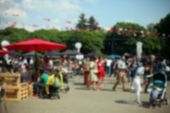 Defocused Background Of People In Park Food Festival, Summer Festival, Sunny Day poster