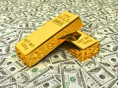 Invest in gold - bank gold bars bullions on dollars