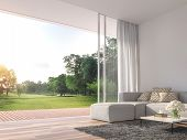 Modern Living Room 3d Render.the Rooms Have Wooden Floors ,decorate With White Fabric  Sofa,there Ar poster