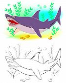Fantasy Illustration Of Cute Shark. Colorful And Black And White Page For Coloring Book. Printable W poster