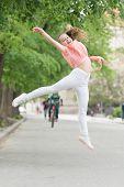 Full Of Energy. Girl Carefree Child. Kid Long Hair Enjoy Walking. Little Child Enjoy Walk. Health, G poster