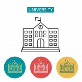 University Building Outline Icons. Editable Stroke High School Sign For Website Application. Urban I poster
