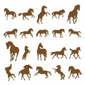 Set Of Horse Logo Design Icon Symbol. Horse Vector. Horse Silhouette poster
