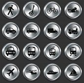 Transportation Icons on Metallic Button Collection Original Illustration