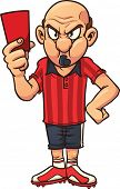 Angry cartoon soccer referee pulling out a red card. Vector illustration with simple gradients. All