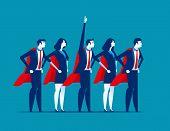 Super Team Of Business. Character Super Leader. Concept Business Vector Illustration. poster