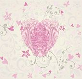 Fingerprint Heart Vintage