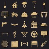 Construction Material Icons Set. Simple Set Of 25 Construction Material Vector Icons For Web For Any poster