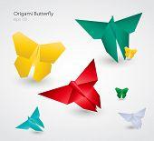 Vector Origami Butterflies. EPS10
