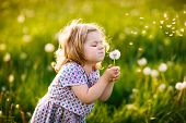 Adorable Cute Little Baby Girl Blowing On A Dandelion Flower On The Nature In The Summer. Happy Heal poster