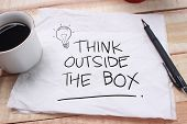 Think Outside The Box, Motivational Words Quotes Concept poster
