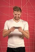 Excited About Gaming. Guy Play Game Smartphone Gadget. Gamer Aggressive Face Play Online Game Smartp poster