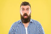 Wondering Every Time. Man Bearded Hipster Wondering Face Yellow Background Close Up. Guy Surprised F poster
