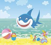 Funny Great White Shark Swimming In Blue Water On A Summer Sea Beach And Friendly Smiling, Vector Il poster