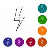 Grey Lightning Bolt Line Icon Isolated On White Background. Flash Icon. Charge Flash Icon. Thunder B poster