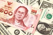 A Close Up Image Of A Red, One Hundred Baht Note From Thailand With American One Dollar Bills In Mac poster