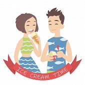 Couple With Ice Cream. Vector Illustration Of European Pair Isolated On White Background. Boy With H poster