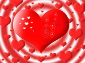 The Big Red Heart Against Set Of Other Hearts