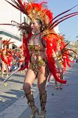 Sesimbra, Portugal - February 20:Samba Dancer In The Sesimbra Carnival - Equal To The Brazilian Car