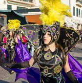 SESIMBRA, PORTUGAL - FEBRUARY 20: Samba dancer in the Sesimbra Carniva