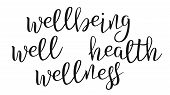 Modern Calligraphy Ink Of Word Wellbeing Vector. Stylish Typography Inscription With Different Handw poster