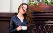 Girl Enjoy Morning Coffee. Woman Drink Coffee Outdoors. Peaceful Inspiring Moment. Girl Relax In Caf poster
