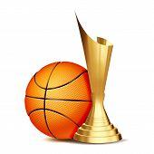 Basketball Award . Basketball Ball, Golden Cup. Sports Game Event Announcement. Basketball Banner Ad poster