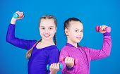 Happy Strong Children With Barbell. Workout Of Strong Small Girls Hold Dumbbell. Weight Lifting For  poster