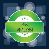 Handwriting Text Risk Analysis. Concept Meaning Review Of The Risks Associated With A Particular Eve poster