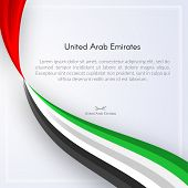 Brochure With Wavy Ribbon Colors Of The National Flag Of United Arab Emirates (uae) With Text For Ca poster