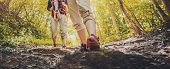 Lady Hiker Walking Through The Rocky Land. Focus On The Foot. Hiking Shoes In Action On A Mountain D poster