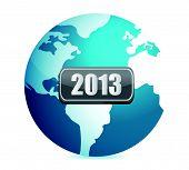 2013 globe illustration design over white background
