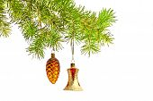 Bell And Cone Toys With Christmas Tree Isolated