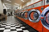 stock photo of laundromat  - An iInterior of laundromat with retro look - JPG