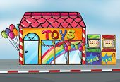 Illustration of a toy shop near a street
