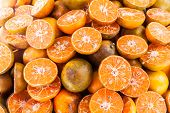 Group Of Sliced Tangerine Oranges