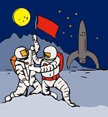 Astronauts Planting Flag