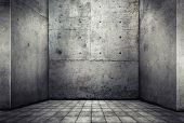 Digital background for studio photographers. Empty concrete room.