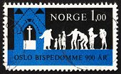 Postage stamp Norway 1971 Worshippers Coming to Church