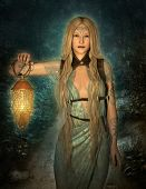 stock photo of night gown  - an elf princess lights up the path to the woodland area - JPG