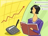 Illustration of a Female Accountant observing an economy graph