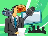 Illustration of a Male Broadcaster Surrounded by a Microphone, a Video Camera and a TV Monitor