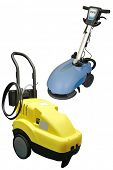 floor buffing machines under the white background
