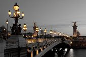 picture of nightfall  - View of the Alexander III bridge Paris France - JPG