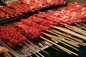 Raw Red Meat Skewers