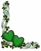 St Pattys Day Border Ribbons Hearts